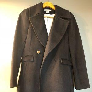 H & M Navy Blue Wool Coat